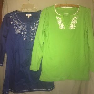 Denim and Co. Set of 2 tunic tops blue and green